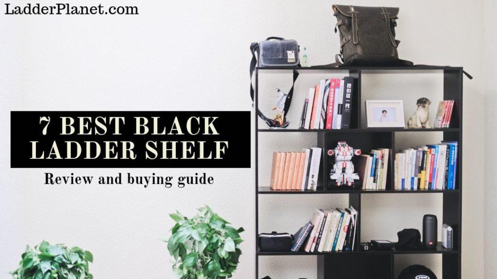 black ladder shelves